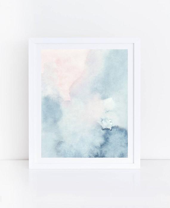 Printable Abstract Art Watercolor Wall Art Sky Print Blue