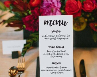 Personalised Wedding Menu digital design