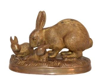 French Vintage Bronze Group - Rabbit Figurine - Bunny and Babies - Bronze Casted Sculpture