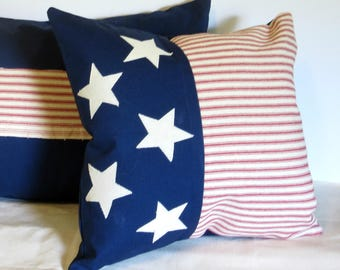 patriotic pillow cover, american flag pillow, lumbar pillow cover 12x12, 18x18, stars stripes pillow cover, american pillow,