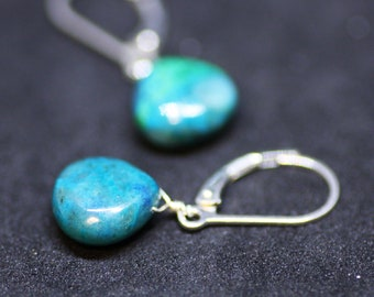 Natural Blue Green Chrysocolla Wire Wrapped Earrings in Solid Sterling Silver , Healing Gem , 7th Anniversary , Calming , Wedding , Bridal