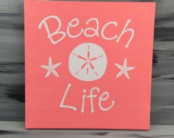 Beach Wall Decor - Beach Picture - Beach Bath Picture - Beach House Picture - Beach Life with Sand Dollar and Star Fish - Coral Sign