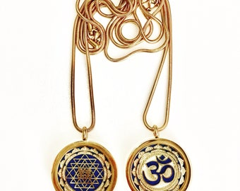 "2 Sided Pendant: Sri Yantra & OM - 18k Gold Plated Stainless Steel - Aromatherapy Pendant - 24"" Snake Chain Included!"