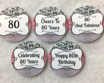 Set Of 50/100/150/200 Personalized 80th Birthday Party 1 Inch Circle Confetti