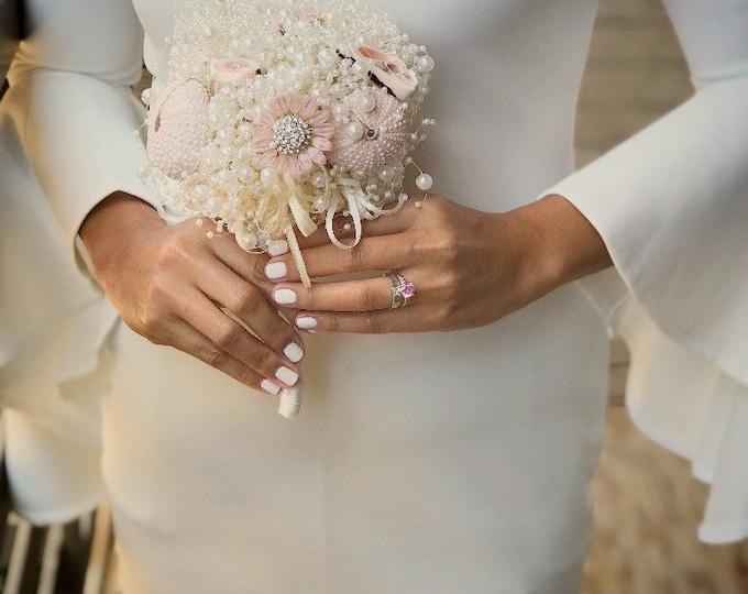 Featured listing image: Destination wedding bouquet - beach wedding bouquet - summer wedding bouquet - shell bridsl bouquet - pale pink bouquet