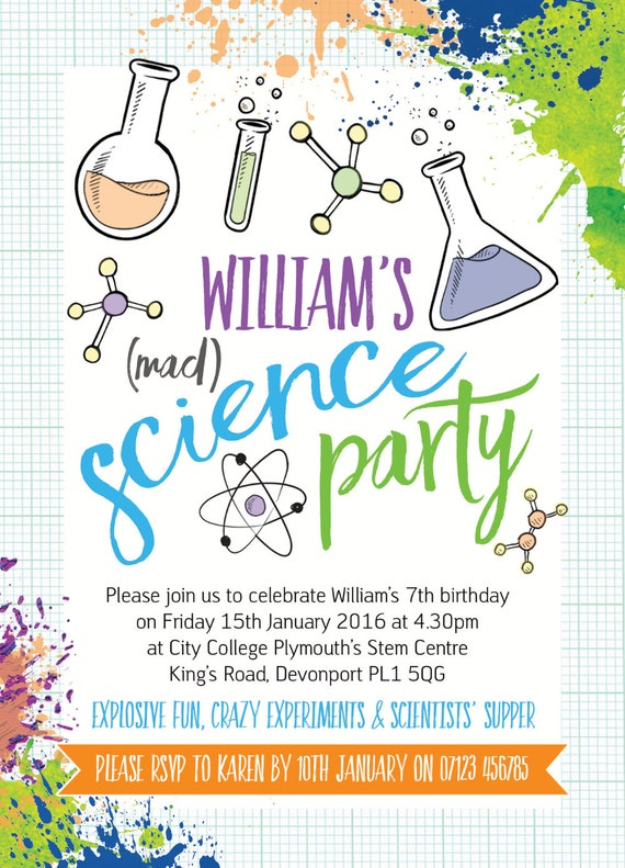 science party invitation template Josemulinohouseco