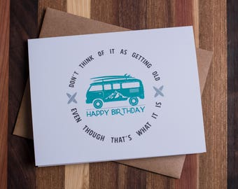 Beach Van Happy Birthday Card Set