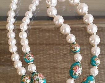 Vintage faux pearls beads aqua hand painted necklace