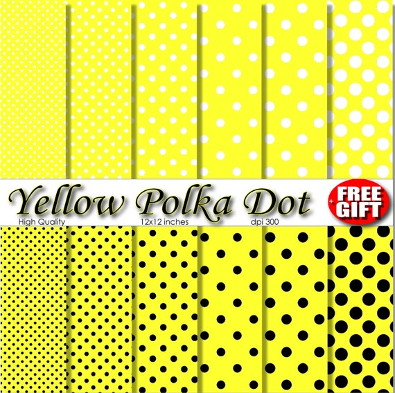 Yellow polka dot digital paper scrapbook kit yellow decor 12x12 premade scrapbook pages Lemon Yellow polka dot clip art polka dot fabric diy