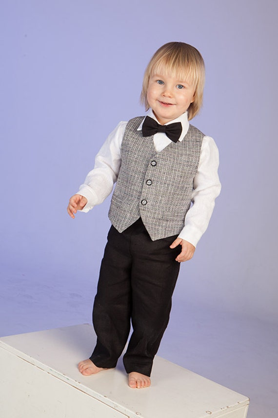 Boy ring bearer outfit baby boy linen suit baptism natural