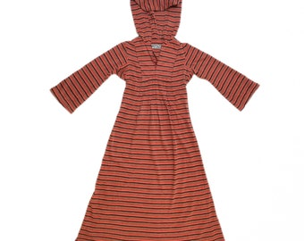 Vintage 70s Hooded Bohemian Striped Maxi Dress w/ Bell Sleeve XS Small 1970s
