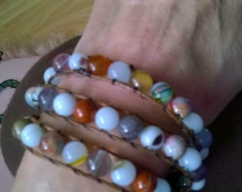 WB8 triple wraparound bracelet with flourite,jasper,jade and lampwork gemstone beads