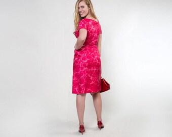 60s Deep Pink Silk Flowered Sheath Dress S
