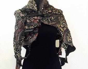 Ancestry Cloth Versatile Shawl - Wearable Art, wabi sabi, organic repurposed, silk shawl, black tattered chic, sculptural scarf, ooak, linen