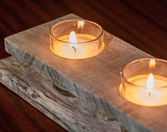 Rustic Wooden Votive Candle Holder, Pallet Wood Holiday Table Centerpiece