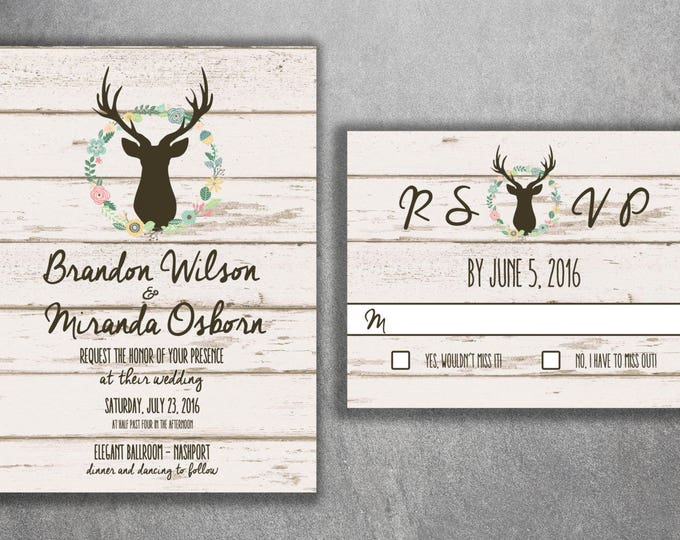 Rustic Country Wedding Invitations Set Printed Burlap, Wood, Deer, Invites, Buck, Deer Rack, Hunter, Boho, Flower Wreath, Shabby, Affordable