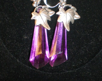 "Vintage Lucite Earrings Geometric Radiant Orchid Purple Wine Grape Vine 3"" Dangle Wine Grape and Leaves Abstract Runway Statement"