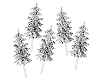 Silver Tinsel Tree Cupcake Picks - 12 vintage inspired cake toppers