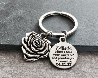 "Today I tell your Dad ""I do"" and promise you forever too, Step Daughter, Daughter of the Groom, Silver Keychain, Silver Keyring, From Bride"