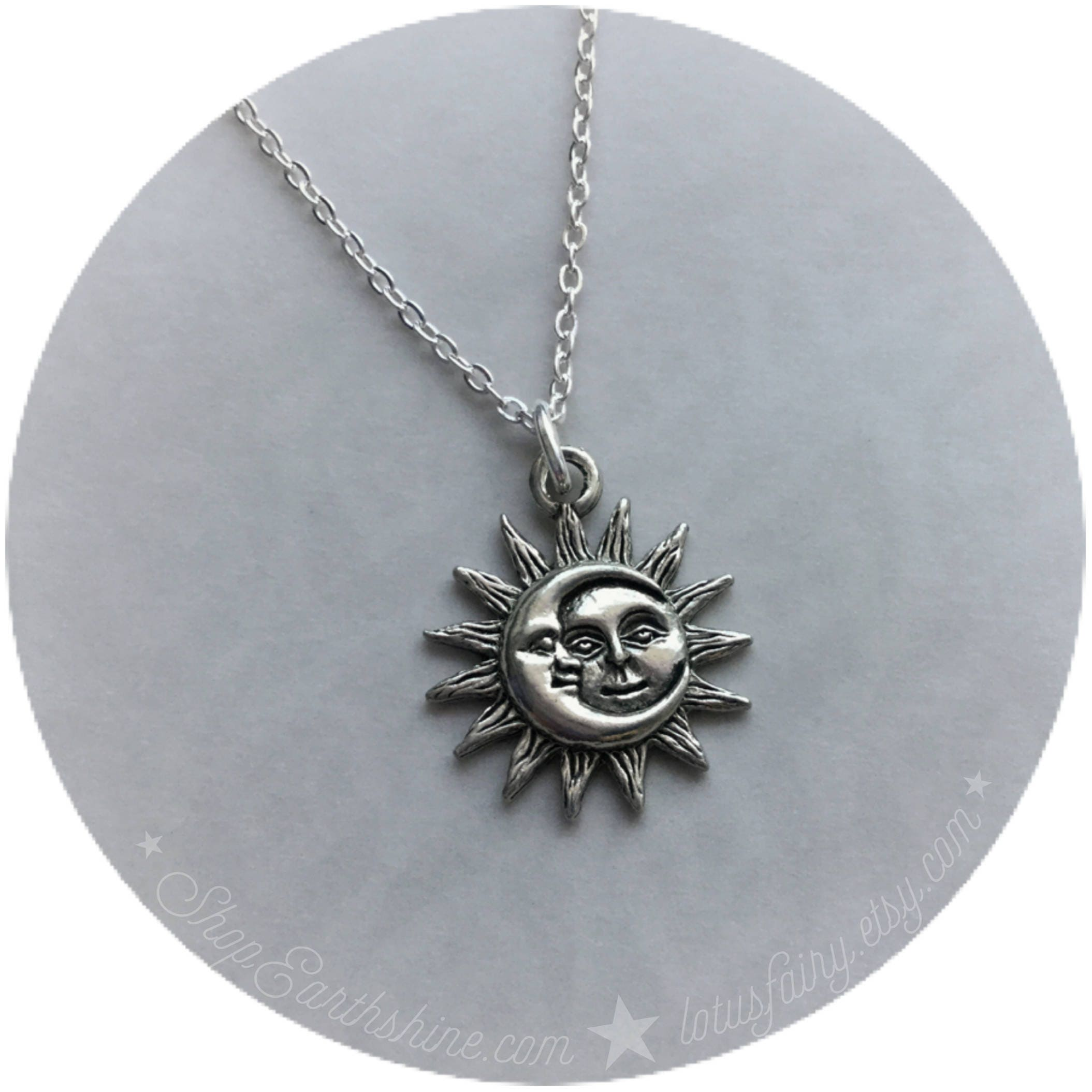 silver golden sterling sun necklace and moon