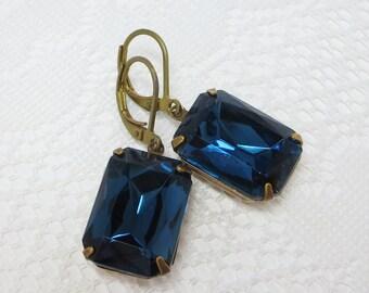 Montana Blue Earrings Vintage Glass Rhinestones Navy Blue Ear Dangles