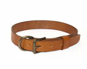 Handmade Tan Leather Dog Collar - Solid Brass Hardware