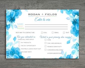Rodan and Fields Enter to Win, Rodan + Fields Info Request Cards,RF Business card , Raffle Ticket