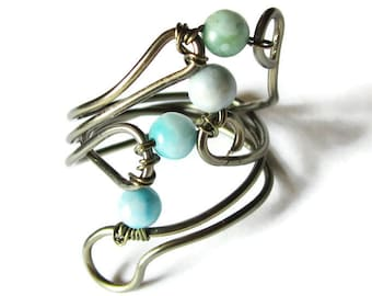 Boho Turquoise Ring Size 8 Wire Wrapped Bohemain Jewelry
