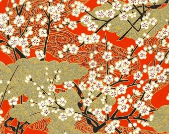 Chiyogami or yuzen paper - gold and tangerine springtime blossoms, 9x12 inches