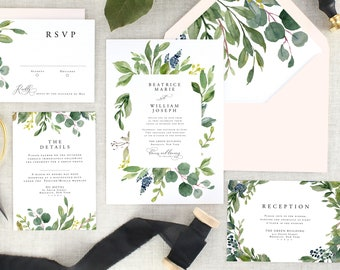Eucalyptus Wedding Invitation - Watercolor Wedding Invitation - Greenery Wedding Invitation Printed - Green Wedding Invite - Set of 10