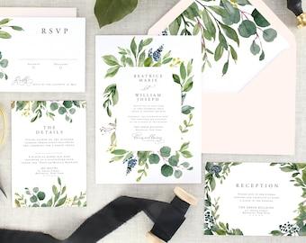 Eucalyptus Wedding Invitation - Watercolor Wedding Invitation - Greenery Wedding Invitation Printed - Green Wedding Invite - Set of 10