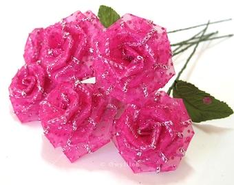 Bouquet de Rose pailletée rose vif