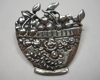 Vintage Mary Engelbreit Bowl Of Cherries Sterling Silver Brooch Pin