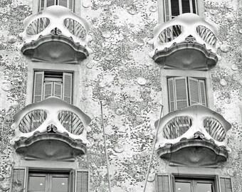 Barcelona, Gaudi, Casa Batllo, House of Bones, Travel Decor, Black and White Wall Art, Balcony, Windows, Architecture, Spain Photography