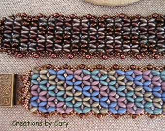 PDF only. Confections woven beaded bracelet pattern tutorial with comp graphics