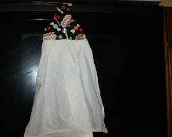 candy on black hanging towel