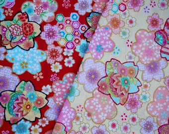 Japanese cotton chirimen fabric for quilting and crafting - Set of 2 sakura floral fabrics