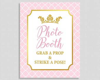 Photo Booth Shower Table Sign, Princess Party Sign, Pink & Gold Crown, Baby Girl Shower, INSTANT PRINTABLE