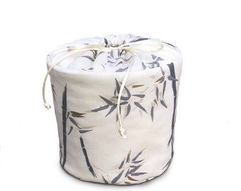 Bamboo in Grey on Beige Background With Gold Accents - Fabric Spare Toilet Paper Holder, Cozy or Cover