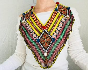 Kuchi Beaded Tribal Necklace Chestpiece