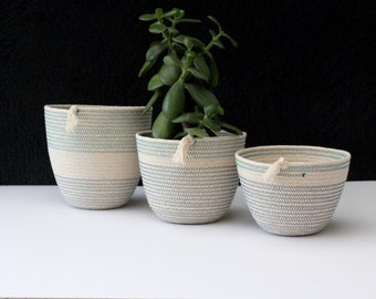 Trio of rope bowls - Pebble & Sea // rope bowls / rope basket / rope vessel / urban jungle / jungalow style /