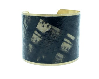 Statement Jewelry - Brass Cuff Bracelet - Statement Bracelet - Black Statement Bracelet - Romantic Gift - Gifts for Women