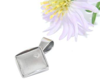 Stainless Steel Caboshon Pendant Tray Blanks Diamond Shape 10x10mm