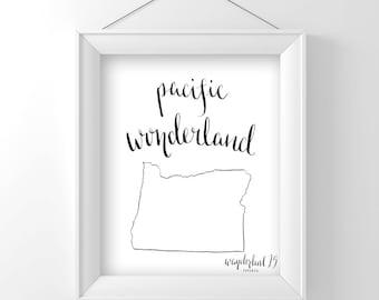 Pacific Wonderland, art print, calligraphy, typography, oregon state, state print