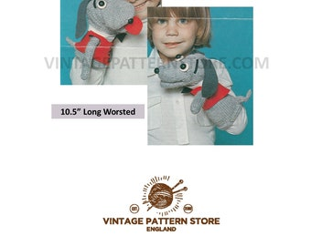 """Puppy dog glove puppet toy - 10.5"""" long in Worsted - Vintage PDF Knitting & Crochet Pattern 1723"""