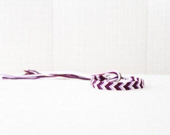 Friendship Bracelet Chevron Purple White Ombre / Stocking Stuffer
