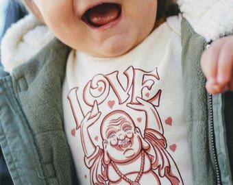 Organic Baby Onesie / Organic Onesie / Eco-friendly Onesie / Organic Baby Clothes / Buddha Onesie / All You Need is Love Onesie