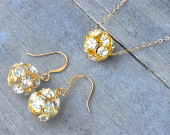 Bridesmaid Jewelry Set, Crystal Bridesmaid Jewelry Set 14k Gold Rhinestone Necklace and Earrings Bridesmaid Gift Bridesmaid Jewelry Gift Set