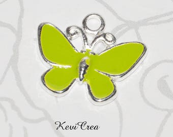 2 x charms Butterfly green enameled metal charms