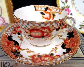 Clifton China Eaton Tea Cup and Saucer Imari Beaded Teacup Painted BR